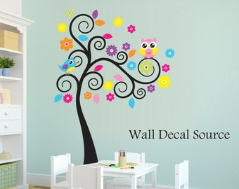 Colorful Swirly Tree Decal - Owl Wall Tree - Nursery Wall Tree