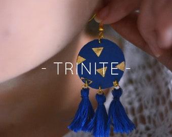 Fabric jewelry, gold patterns, gold jewelry earrings dangling dramatic geometric, fabric, PomPoms, tassels, boho