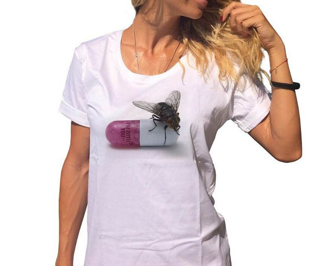 White Cotton Quote Print T-shirt, Oversize Loose T-shirt, Extravagant Plus Size Casual Top by SSDfashion