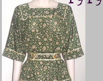 Simple Tunic Blouse - 107cm Bust - Vintage Reproduction PDF Pattern - Made from an original 1919 pattern