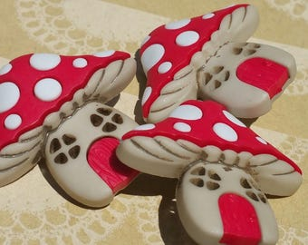 "Mushroom House Buttons - White Polka Dots Red Door - Gnome Home Shank Sewing Button - 1 3/8"" Wide - 3 Buttons"