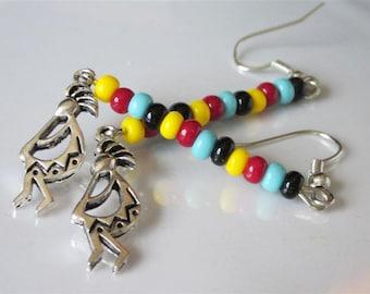 Dancing Indian Earrings, Kokopelli Tribal Man, Beaded Earrings, Dancing Man Earrings, Southwestern Rainbow Earrings