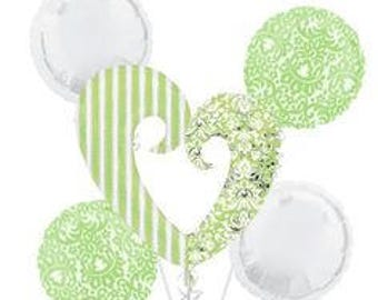 Bridal Shower 'Blushing Bride' Green Foil Mylar Balloon Bouquet (5pc)