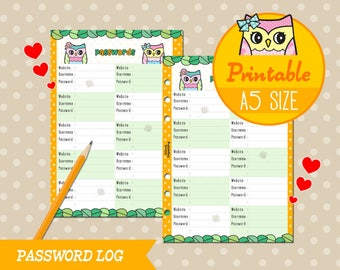 PRINTABLE A5 Size Password Log Trakcer Cute Owl Refills for Filofax Kikki.K Louis Vuitton Instant Download