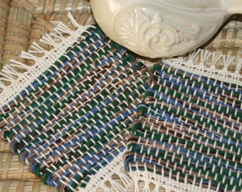 Cabin at the Lake Handwoven Coasters - Set of 2 Eco Friendly Mug Rugs - Woven Coasters in Blue, Green, and Brown