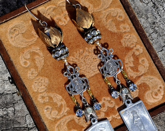 SILVER & GOLD RELIGIOUS Medal Earrings. Religious Assemblage Rhinestone Earrings. Assemblage Earrings by Hallowed Adornments.