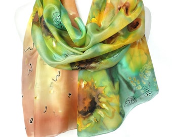 Sunflowers Silk Scarf. Floral Hand Painted Silk Shawl. Anniversary Gift. Genuine Art on Silk. Silk Painting for Her. 18x71in MADE to ORDER