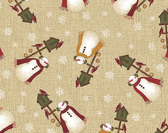 04651 70 / Benartex / Winter Snowman / Cheryl Haynes / Winter Wonderland Collection / Fabric / Quilting / Natural