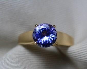 Tanzanite Engagement Ring, 14K Yellow Gold 2.06 Carat Round Solitaire Ring, Certified, Real Genuine Natural Tanzanite Jewellery