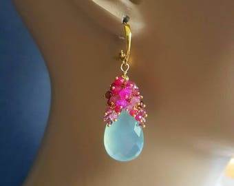 Aqua Chalcedony and Shaded Tourmaline Pink Moonstone Ruby Gemstone Cluster Earrings Gold Vermeil Leverback Ear Wires