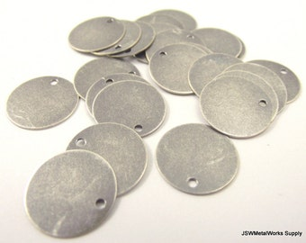 50 Antiqued Silver Round Charms, Round Tag, Blank Discs, Stamping Blanks, 15 mm, 15mm disc