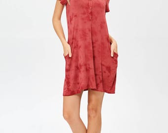 Erina Boutique Comfort Henry Women Organic Bamboo Jersey Dress Brick Made in Los Angeles