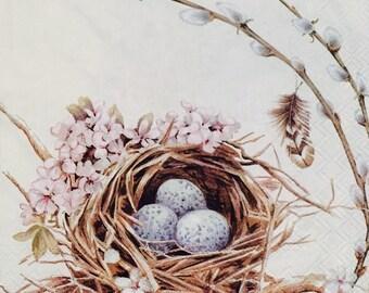 "3 Decoupage Napkin - Birds Nest With Blue Eggs Spring - 13"" x 13"""