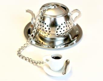 Tea Cup Tea Infuser, Coffee Cup, Teapot Tea Ball Infuser, Beaded Mesh Tea Ball, Charm Tea Infuser, Mad Hatter Tea Party,  High Tea, Tea Gift