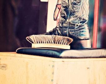 Cowboy Boot Photograph - fine art print - 8x10 photograph - Western Art - shoe shine - rustic home decor