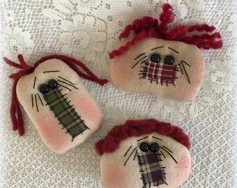 Annie Head Ornies set of 3