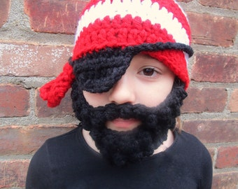 Pirate Hat- Optional Beard, Crochet Pirate Hat, Pirate Costume, Beard Hat