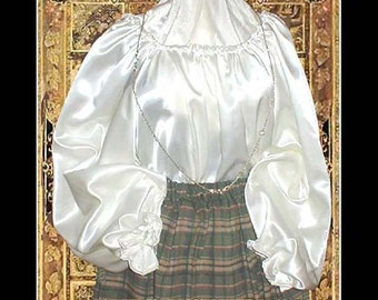 Renaissance Satin or Cotton Chemise Medieval satin shirt blouse for Halloween, Theater, Cosplay, Madrigals