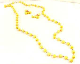 vintage yellow orange square beads necklace clip earrings mid century modern