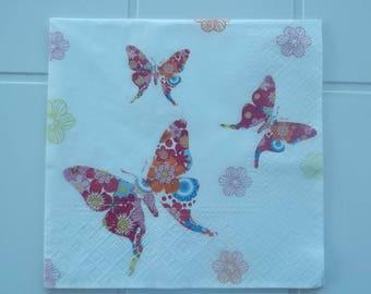 set of 2 napkins papierserviette multicolored butterflies