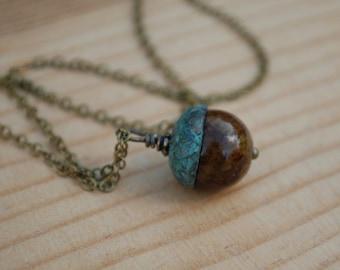 Jasper acorn necklace, acorn with verdigris cap, Fall necklace, Autumn jewelry, gift
