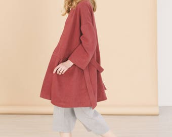 Burgundy oversized hemp coat - Minimalist womens clothing - Spring hemp clothing