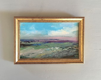 Landscape Study Painting -Original -Green Pink Blue - Art -5-1/2 x 8 approx. including frame- Ready to Hang