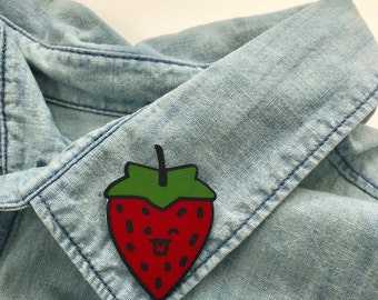 Sassy Strawberry Pin / Shrink Plastic