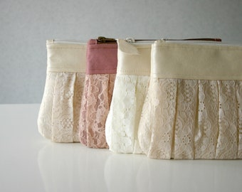 6 Bridesmaid romantic lace clutch bags, Ruched bags, Pleated lace, Pearl effect leather, Choose a colour