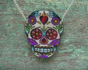sugar skull with sacred heart tattoo necklace (dia de los muertos calavera)