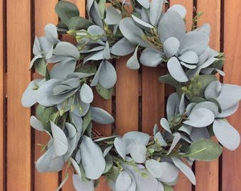 Farmhouse Faux Greenery Wreath | Seeded Eucalyptus Wreath | Eucalyptus Wreath | Small Wreath