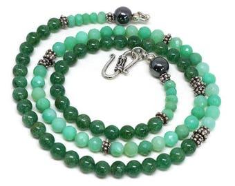 Chrysoprase and Green Aventurine Beaded Necklace - Chrysoprase and Green Aventurine Jewellery - Two-Tone Green Necklace - Green Necklace