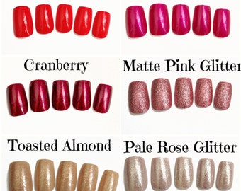 Red Pink Nude Fake Nails | Glitter Press On Nails |  Soft Square Fake Nails | Matte or Glossy Glue On Acrylic Nails | Reusable Nails