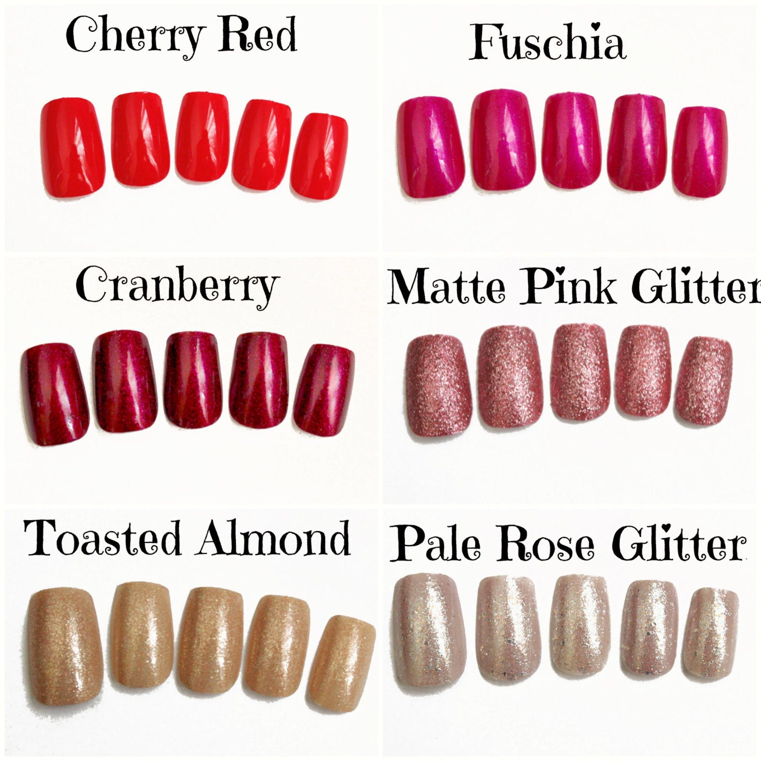 Red Pink Nude Fake Nails Glitter Press On Nails Soft