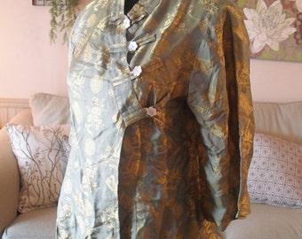 vintage SILK Kimono Blouse Shirt .. Women's Small