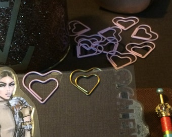 Heart Shaped Pink & Gold Paperclip set