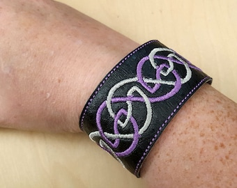 Purple and Silver embroidered vinyl cuff