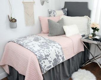 Solid Flamingo Grey Dorm Bed Skirt & Headboard Bundle