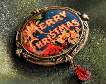 Merry Christmas Pin, Holiday Christmas Pins, Christmas Jewelry, Christmas Brooch, Christmas Gift, Stocking Stuffer, Holiday Jewelry P340