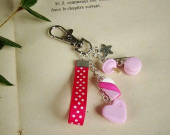 Pink bag charm - key gourmet macaroon Marshmallow lollipop chupa heart cookie polymer clay fimo - gift idea mothers day