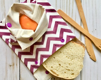 Reusable Sandwich & Snack Bag SET - lined with Organic Cotton - Plastic-free - Snap Top - Chevron