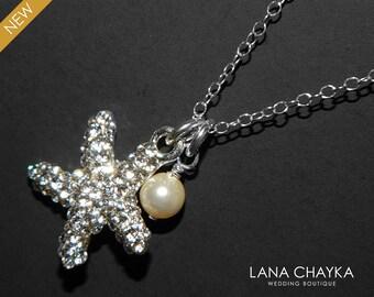 Sea Star Crystal Necklace Starfish Rhinestone Starfish Pearl Silver Necklace Swarovski Ivory Pearl Sea Star Necklace Beach Wedding Jewelry