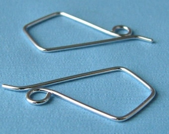 Handmade Earwires, Kite II Sterling Silver Triangle Earring Findings, Choice of Finish, Signature Design, 2 pairs