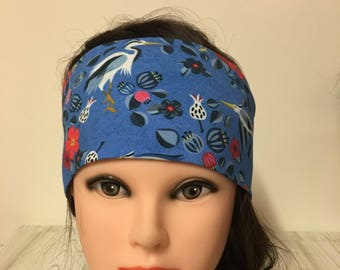 Cotton jersey headband turquoise blue with birds