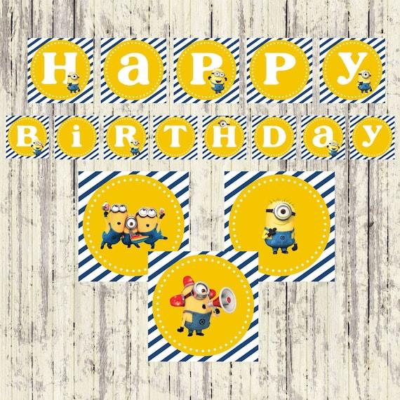 INSTANT DOWNLOAD Minion Birthday Banner Happy Birthday