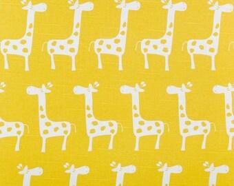 Yellow Giraffe Fabric by the Yard yardage Premier Prints Gisella Stretch Corn yellow on white cotton slub upholstery SHIPsFAST