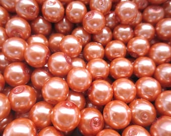 20 Pcs Coral Glass Pearl Beads - 8mm in diameter, hole: 1.5mm