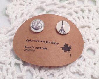 Stud Earrings - French Crown Eiffel Tower, Altered Art Earrings, Silver Plated Earrings, Unique Stud Jewellery