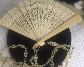 Antique Cream Celluloid Ribbon Fan On Long Lacy Celluloid Chain