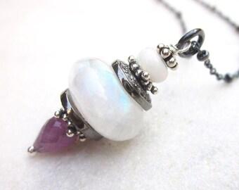 Rainbow moonstone pave diamond pendant necklace, pink sapphire & Ethiopian Welo fire opal gemstones, luxurious diamond charm chain necklace